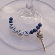 Golf Tee Personalised Wine Glass Charm